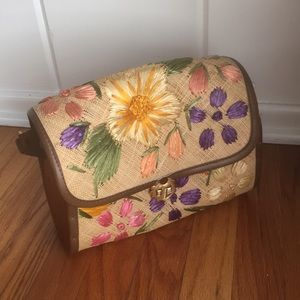 ▪️vintage 60s floral bag▪️wicker embroidered